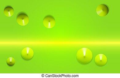 realistico, render, vista superiore, colori, trendy, designs., 3d, astratto, standing, plastica, forme, isolato, coni, verdastro, 8, verde, fondo., posizione, cones., composizione, tema