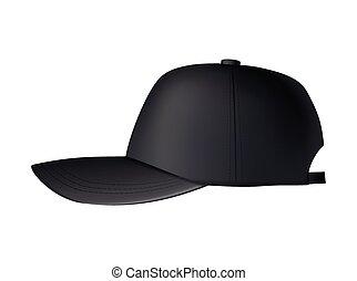 realistico, sagoma, berretto, cap., sport, hat., uniforme, mockup, baseball, fronte, isolato, vista., nero, fondo., bianco, vuoto, vuoto