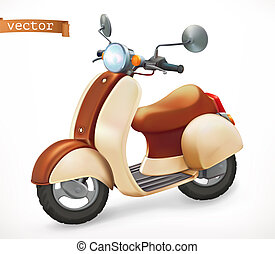 realistico, scooter, vettore, 3d, icona