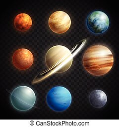realistico, set, trasparente, pianeti