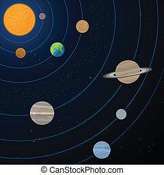 realistico, sistema solare, illustrazione