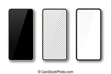 realistico, smartphone, beffare, telefono, vettore, schermo, su