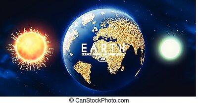 realistico, sole, spazio, luna, fondo., univerce., pianeti, terra