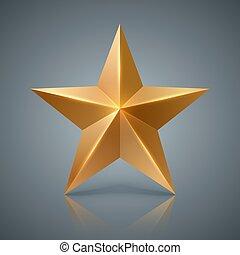 realistico, star., 3d, oro, icona