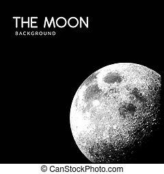 realistico, vettore, luna, fondo, spazio