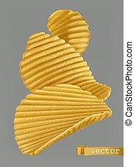 realistico, vettore, patata, 3d, chips.