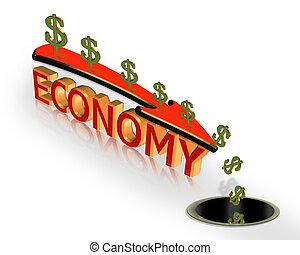 recessione, grafico, economia, crisi, 3d