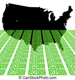 recessione, mappa, stati uniti, testo