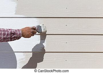 recinto, lavoratore, mano, legno, spazzola, presa a terra, bianco, pittura