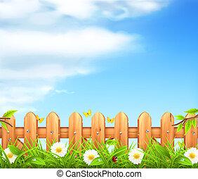 recinto, legno, primavera, fondo, vettore, erba