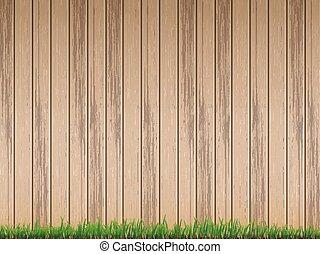 recinto, sopra, legno, fondo, fresco, erba