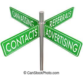 referrals, contatti, pubblicità firma, risultato, nuovo, canvassing, strada