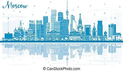 reflections., mosca, russia, costruzioni, orizzonte, contorno, blu