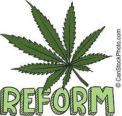 reform, schizzo, legge, marijuana