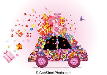 regali, automobile, pieno