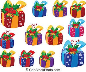 regali, scatola, set, natale