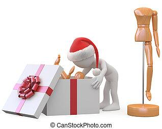 regalo apertura, uomo, santa