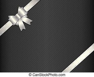 regalo, carta, argento, nastro