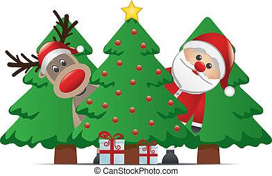 regalo, claus, albero, renna, santa, natale