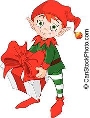 regalo, elfo, natale