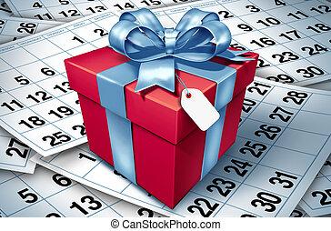 regalo, fondo, compleanno, calendario