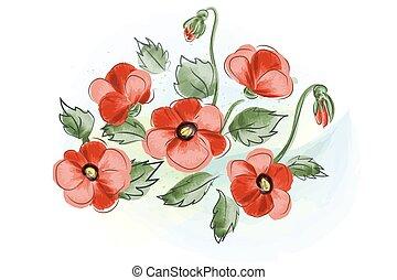 regalo, mazzolino, acquarello, scheda, bello, papaveri, rosso
