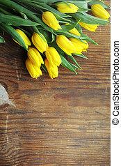 regalo, mazzolino, tulips, floor., vaso, giallo, w