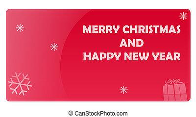 regalo, rosso, anno, nuovo, scheda natale