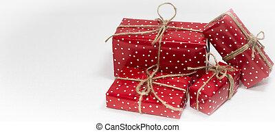 regalo, spazio, testo, scatole, fondo, natale bianco, vuoto