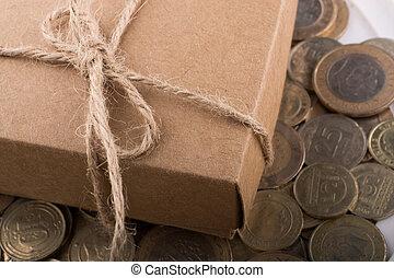 regalo, turco, lato, lira, monete, scatola