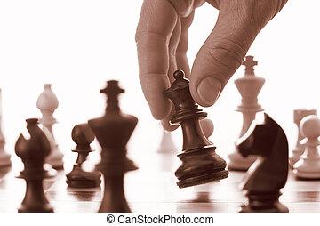 regina, nero, gioco, avanzamenti, scacchi