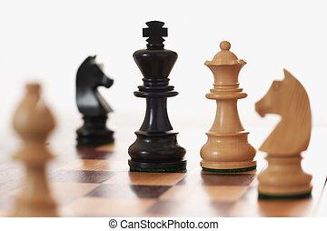 regina, re, nero, stimolante, gioco, scacchi, bianco