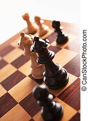 regine, scacchi, altro, faccia, bianco, indietro, ciascuno