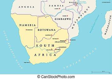 regione africa, meridionale, politico, mappa