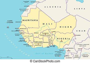 regione africa, ovest, politico, mappa