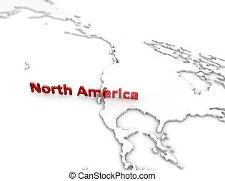 regione, america, nord