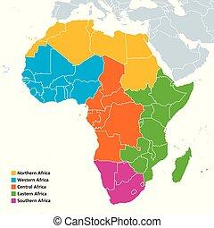 regioni, africa, politico, mappa