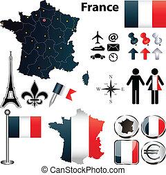 regioni, mappa, francia