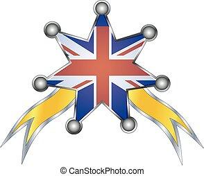 regno, nazionale, unito, medaglia, bandiera