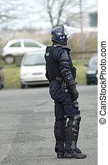 regno unito, polizia, ingranaggio, tumulto, ufficiale