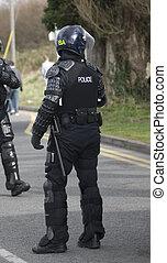 regno unito, polizia, ingranaggio, tumulto, ufficiali