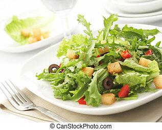 regolazione, insalata verde, ristorante