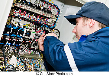 regolazione, lavoro, elettricista, tensione