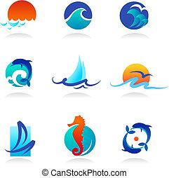 relativo, icone, mare, collezione