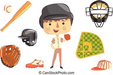 relativo, professionale, illustrazione, ragazzo, baseball, oggetti, occupazione, futuro, professione, sogno, bambini, giocatore