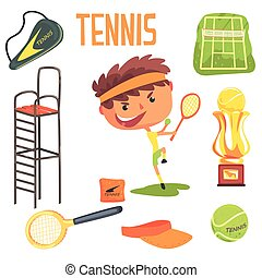 relativo, professionale, illustrazione, ragazzo, oggetti, tennis, occupazione, futuro, professione, sogno, bambini, giocatore