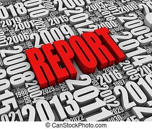 relazione, annuale, rosso
