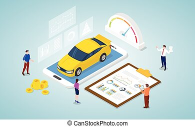relazione, dati, analisi, un po', grafico, isometrico, automobile, grafico, stile, concetto, moderno, mercato