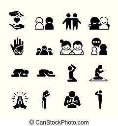 relazione, famiglia, amicizia, amico, amore, icone, vettore