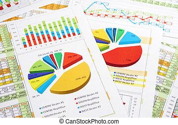 relazione, grafici, cifre, vendite